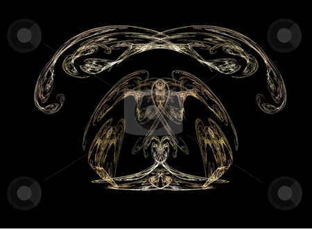 Background stock photo, Abstract bilateral flame on the black background by Petr Koudelka