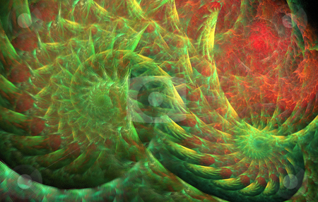 Background stock photo, Abstract spiral double flame in red and green colours by Petr Koudelka