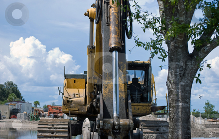 Backhoe Loader stock photo, Backhoe loader on site ready to remove a tree by Robert Cabrera