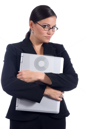 Female business person with computer stock photo, A young attractive female business professional with a notebook computer by Vince Clements