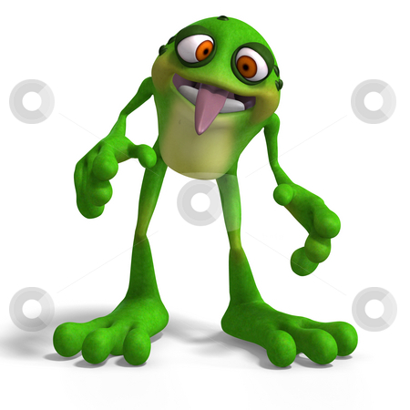 Crazy Toad stock photo, Cartoon Frog with funny Face contains Clipping Path by Ralf Kraft