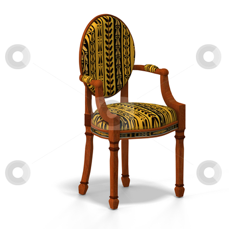 Classical chair - half side view stock photo, Traditional chair with padding (upholstery) contains Clipping Path by Ralf Kraft