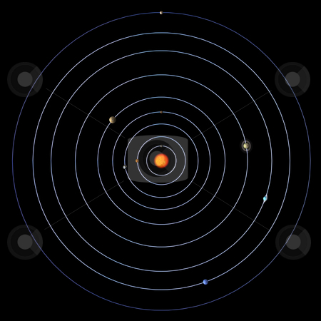 Solar System stock photo, Schematical image of the map of the solar system.  With Clipping Path by Ralf Kraft