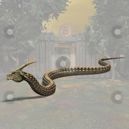 Dinoconda stock photo, Fantasy Series - Image contains a Clipping Path / Cutting Path for the main object by Ralf Kraft