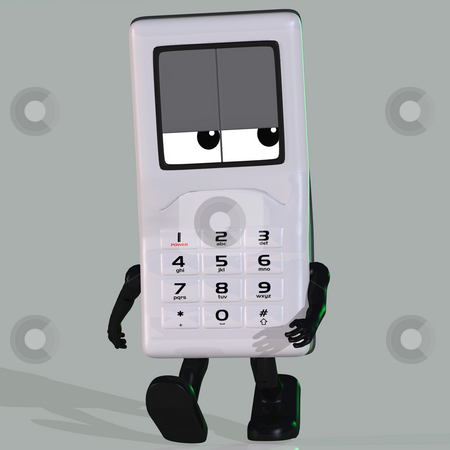 Cartoon cell phone with face stock photo, A multicolored cell phone with arms and legs Image contains a Clipping Path by Ralf Kraft
