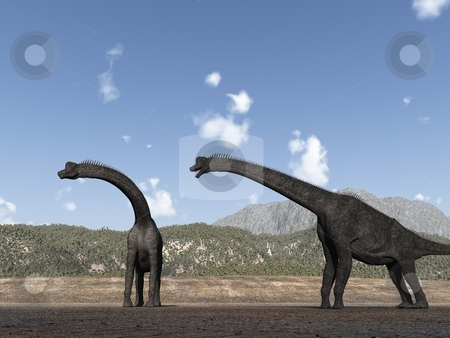 Brachiosaurs stock photo, Two brachiosaurs have had their search for food interrupted by a suspicious sound to the left. by Allan Tooley