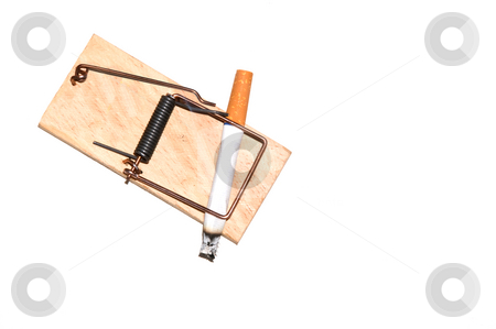 Stop Smoking stock photo, A cigarette caught in a wooden mousetrap. by Robert Byron