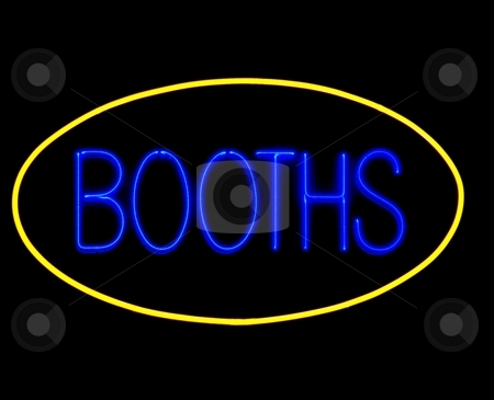 Game booths neon sign stock photo, Game booths neon sign on black by Laurent Dambies