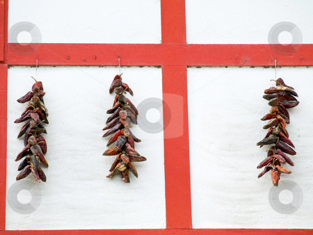 Red Wooden wall and dry peppers stock photo, Red wooden wall with drying red peppers  in the Basque village of Espelette by Laurent Dambies