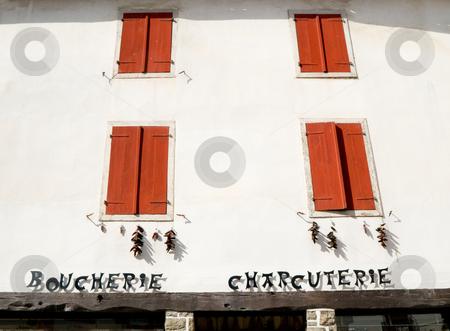 Picturesque butcher shop stock photo, Picturesque butcher shop  in the Basque village of Espelette by Laurent Dambies