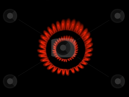 Gas burner flames  stock photo, Red gas burner flames view from the top by Laurent Dambies