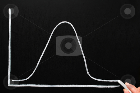Drawing a normal distribution bell curve on a chalkboard. stock photo, Drawing a normal distribution bell curve on a chalkboard. by Stephen Rees