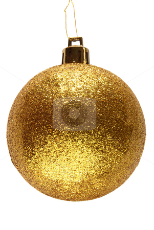 Gold glitter Christmas bauble ball. stock photo, Gold glitter Christmas bauble ball. by Stephen Rees