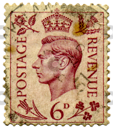 An old used King George VI stamp. stock photo, An old used King George VI stamp. by Stephen Rees