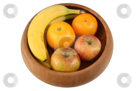 4 types of Fruit in wooden bowl isolated on white background. stock photo, 4 types of Fruit in wooden bowl isolated on white background. by Stephen Rees