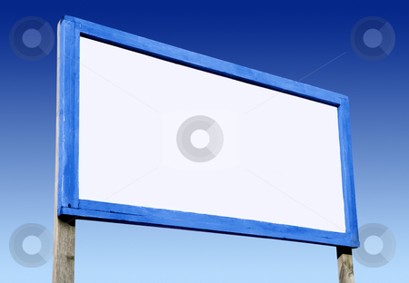 Big white blank advertising board and blue sky. stock photo, Big white blank advertising board and blue sky. by Stephen Rees