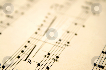 Close up of notes on an old sheet of music with shallow focus. stock photo, Close up of notes on an old sheet of music with shallow focus. by Stephen Rees
