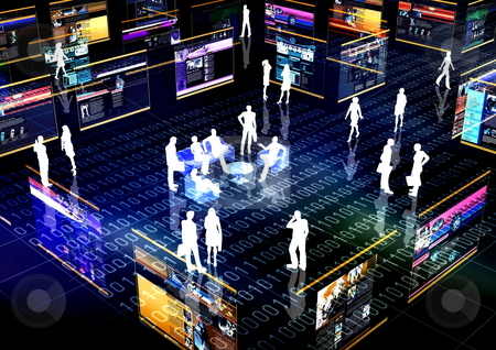 Virtual Community stock photo, Internet community illustrated with people doing activity in futuristic virtual world. by Nmedia Studio