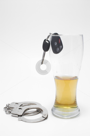 Beer, Keys and Handcuffs stock photo, Drunk Driving Concept - Beer, Keys and Handcuffs by Robert Byron