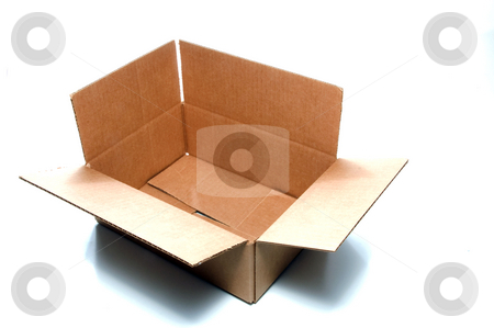 Cardboard Box stock photo, An empty corrugated pasteboard or cardboard box. by Robert Byron