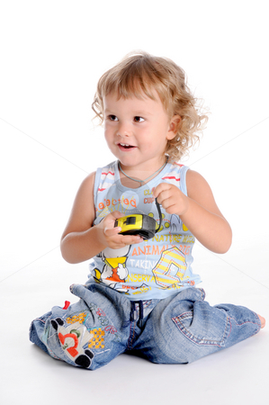 Boy and Tape Measure stock photo, Little Curly-headed Boy and Tape Measure by Valeriy Mazur