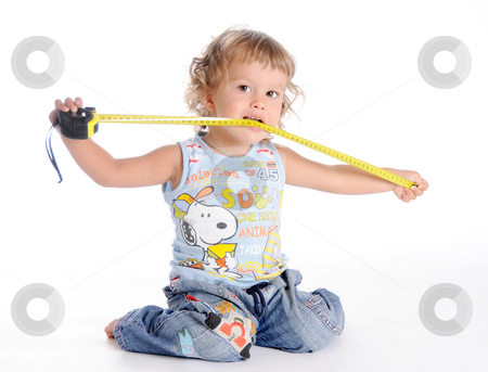 Boy and Tape Measure stock photo, Little Curly-headed Boy and Tape Measure isolated on white background by Valeriy Mazur