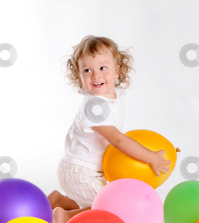 Boy With Balloons 6 stock photo, Little Curly-headed Boy Surrounds The Colourful Balloons by Valeriy Mazur