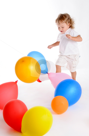 Boy With Balloons 4 stock photo, Little Curly-headed Boy Surrounds The Colourful Balloons by Valeriy Mazur