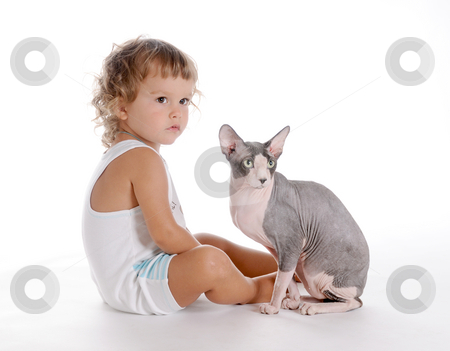 Boy and Cat 4 stock photo, Little Curly-headed Boy and Cat by Valeriy Mazur