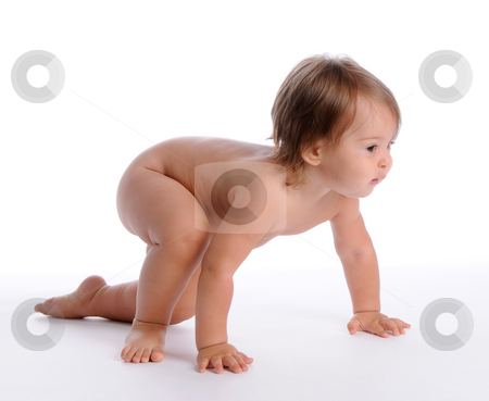 The First Steps 2 stock photo, Little Baby Isolated on White Background by Valeriy Mazur