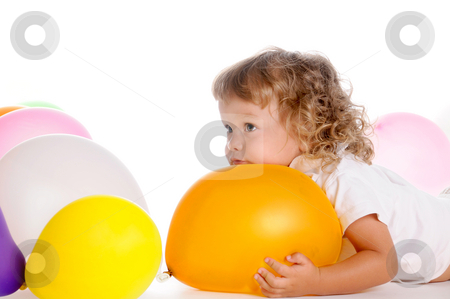 Boy With Balloons 5 stock photo, Little Curly-headed Boy Surrounds The Colourful Balloons by Valeriy Mazur