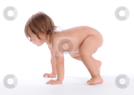 The First Steps stock photo, Little Baby Isolated on White Background by Valeriy Mazur