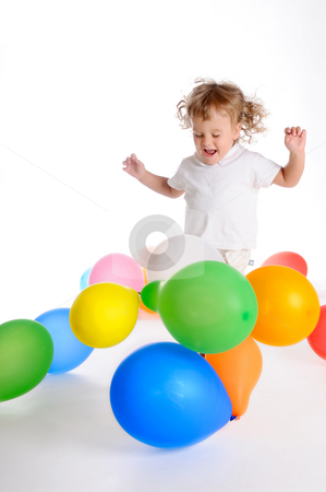 Boy With Balloons 2 stock photo, Little Curly-headed Boy Surrounds The Colourful Balloons by Valeriy Mazur