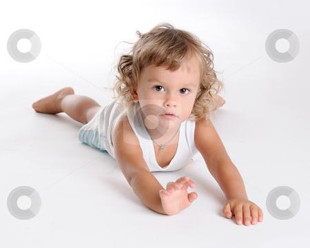 Lying Boy stock photo, Little Curly-headed Brown Eyed Boy by Valeriy Mazur