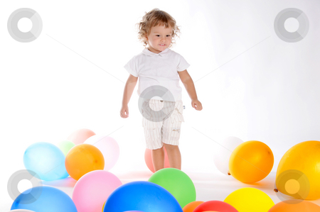 Boy With Balloons stock photo, Little Curly-headed Boy Surrounds The Colourful Balloons by Valeriy Mazur