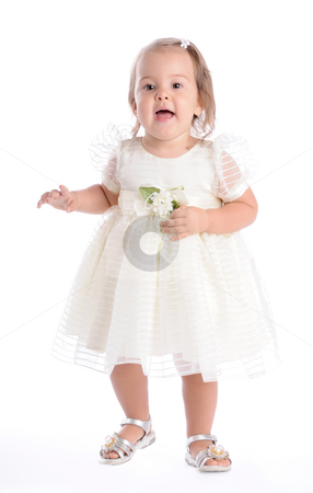 Little Princes 2 stock photo, Little Baby in White Dress by Valeriy Mazur