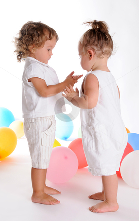 Childhood Friends 3 stock photo, Little Curly-headed Boy and Little Girl by Valeriy Mazur