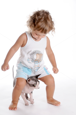 Boy and Cat 2 stock photo, Little Curly-headed Boy and Cat by Valeriy Mazur