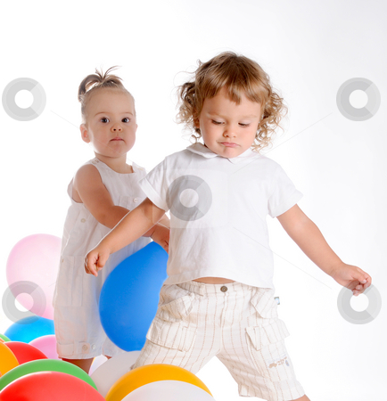 Childhood Friends stock photo, Little Curly-headed Boy and Little Girl by Valeriy Mazur