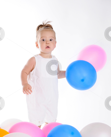 Baby Surprised stock photo, Little Baby Surprised With Colorful Balloons by Valeriy Mazur