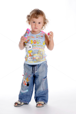 Boy and Soap Bubbles stock photo, Little Curly-headed Boy and Soap Bubbles by Valeriy Mazur