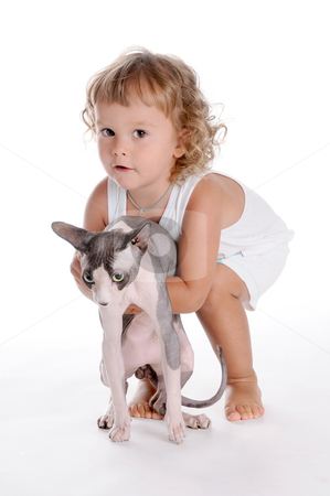 Boy and Cat stock photo, Little Curly-headed Boy and Cat by Valeriy Mazur