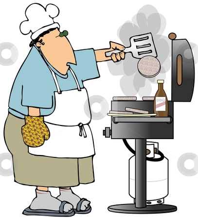 Flipping Burgers stock photo, This illustration depicts a man flipping hamburgers on a BBQ grill. by Dennis Cox