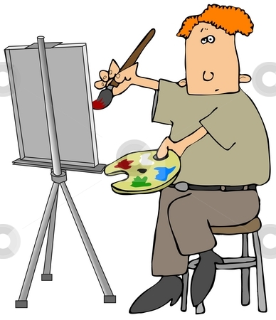 Oil Painter stock photo, This illustration depicts a man painting on a canvas and holding a palette of oil paint. by Dennis Cox