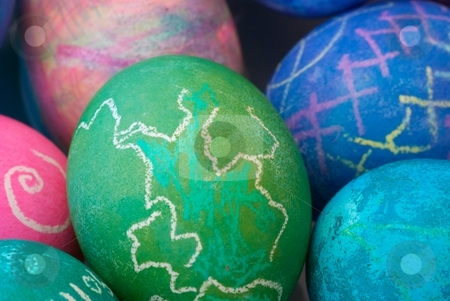 Easter Eggs stock photo, Close-up of dyed Easter eggs. by Charles Jetzer