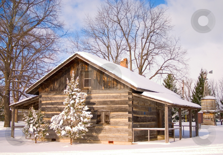 Winter log cabin stock photo,  by Johan Knelsen