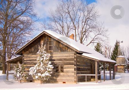 Winter log cabin stock photo,  by Johan Knelsen