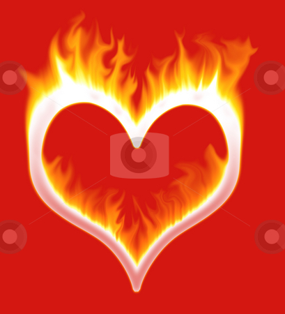 Heart on fire stock photo, A heart shape on fire on a red background by Johan Knelsen