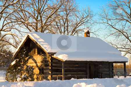 Snow Cabin In The Winter stock photo, Snow covered cabin in Canada. by Johan Knelsen