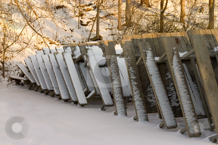 Winter Picnic stock photo, Picnic tables at the park covered in snow by Johan Knelsen